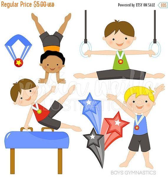 SALE Boys Gymnastics Cute Digital Clipart.