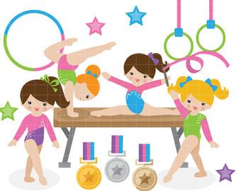 Kids Gymnastics Clipart.