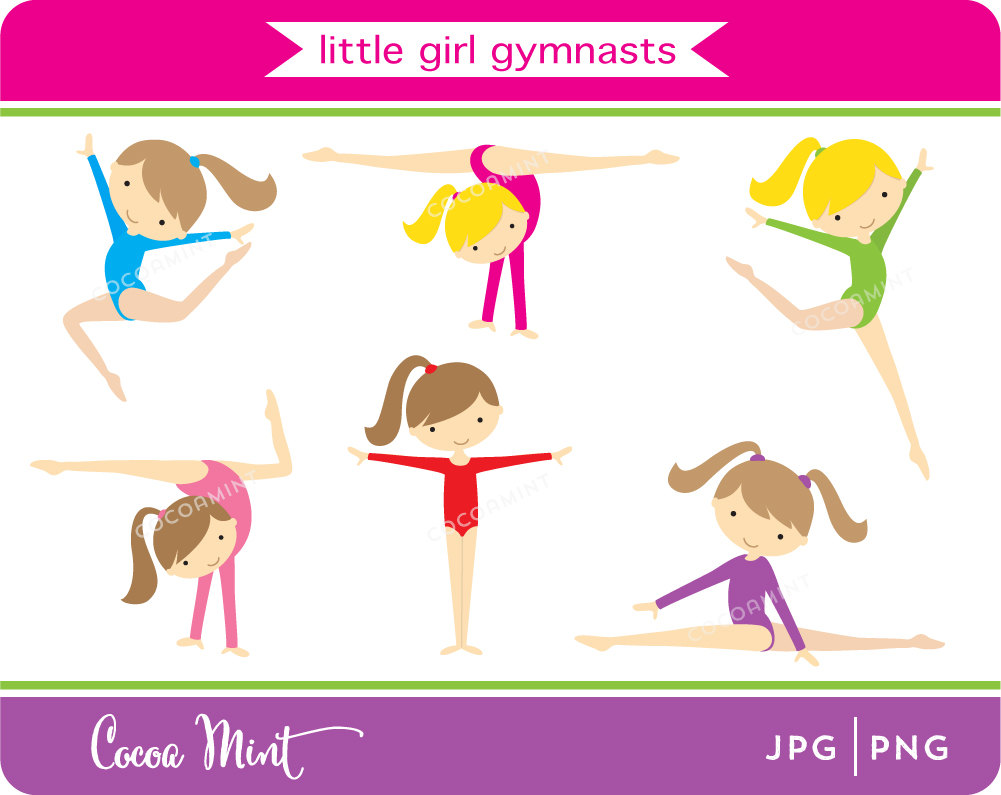Little Girl Gymnasts Clip Art by cocoamint on Etsy.