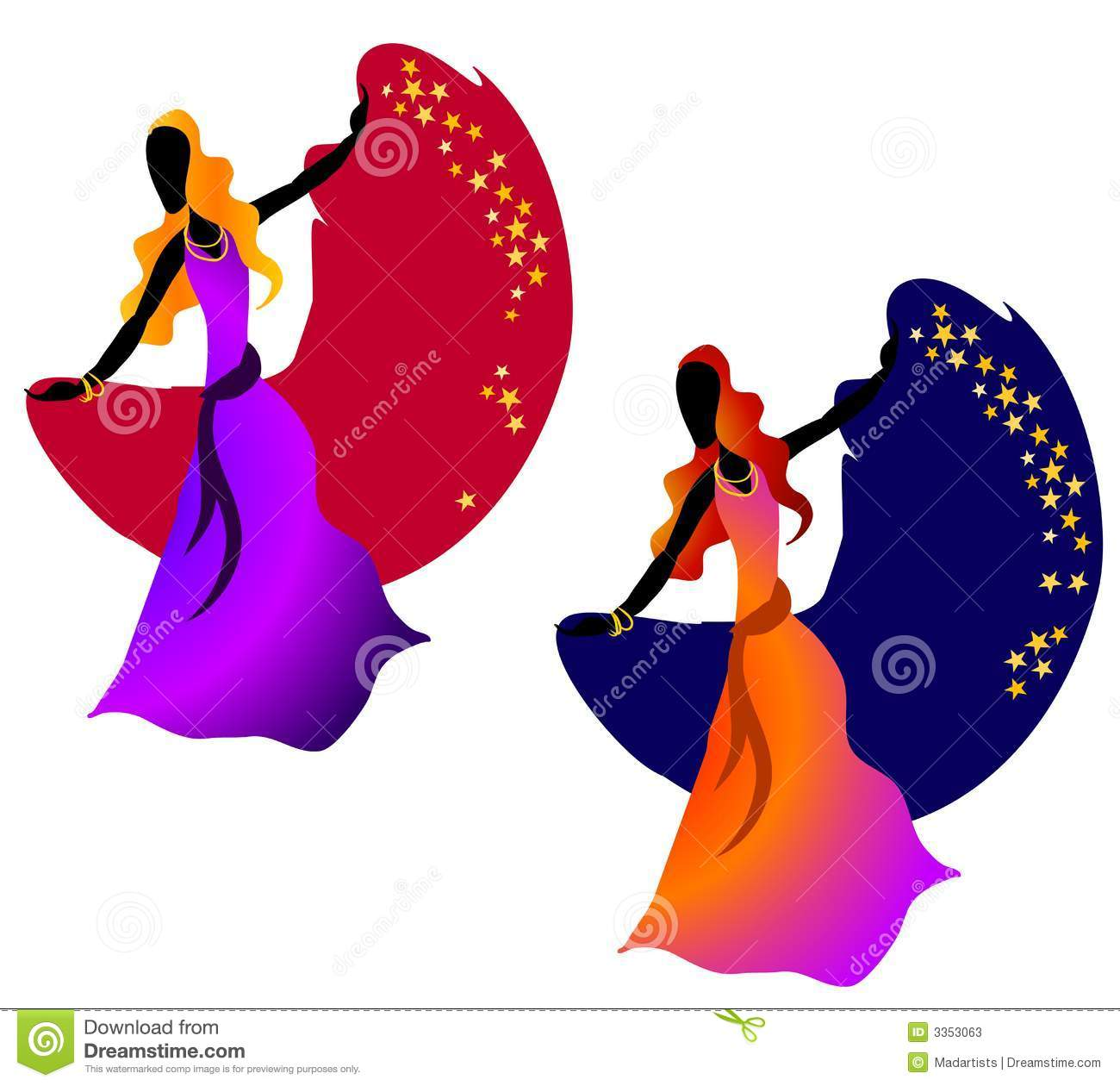 Gypsy Dancing Woman Stars 2 Stock Photos.