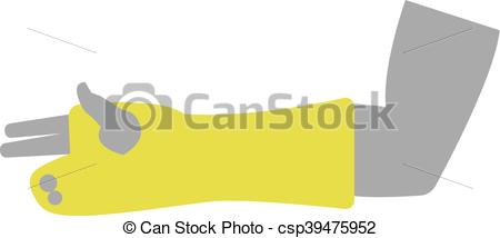 Clipart Vector of Flat Icon of Hand with Gypsum Bandage on White.