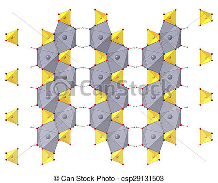 Stock Illustration of Gypsum (calcium sulfate dihydrate, CaSO4.H2O.