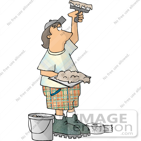 Caucasian Man Using Tools to Apply Sheetrock Mud Clipart.