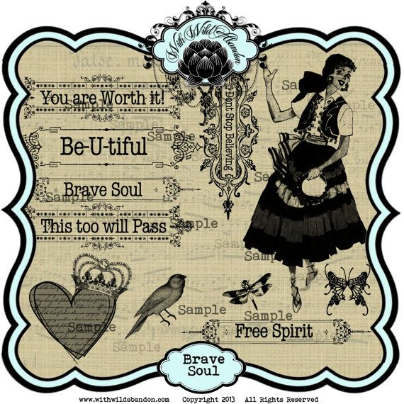 Gypsy Clipart, Brave Soul Digital Collage Sheet , Clip art Set and.