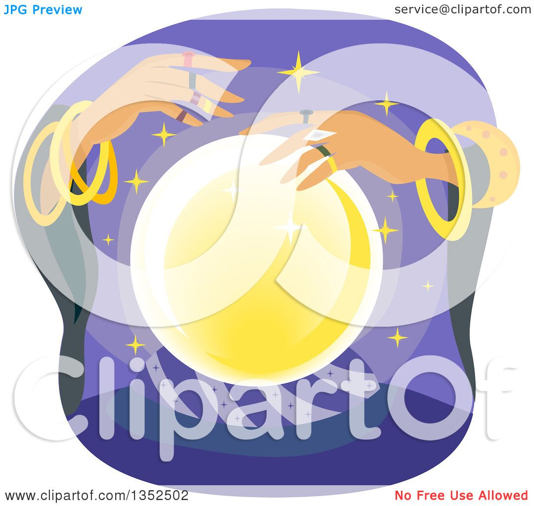 Clipart of a Gypsy Fortune Teller and a Crystal Ball.