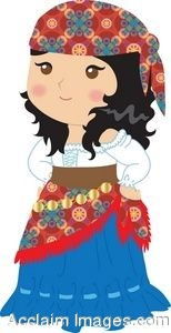 Clip Art Of A Little Gypsy Girl.