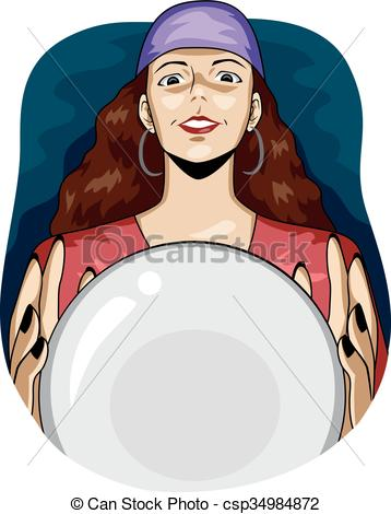 Vectors Illustration of Gypsy Woman Crystal Ball Foresee.