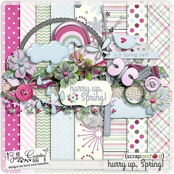 Quality DigiScrap Freebies: Hurry Up, Spring! mini kit freebie.