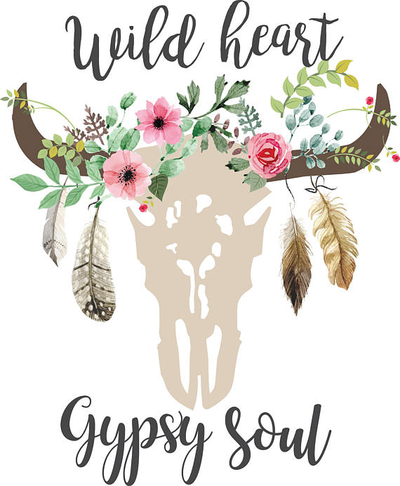 Wild heart Gypsy soul svg clipart Boho floral cow Skull.