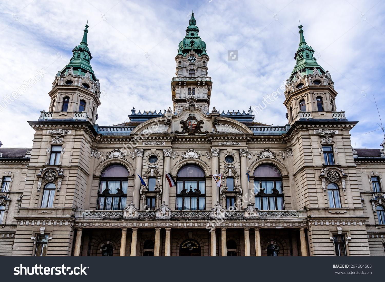 Town Hall Neoclassical Building Gyor Gyor Stock Photo 297604505.