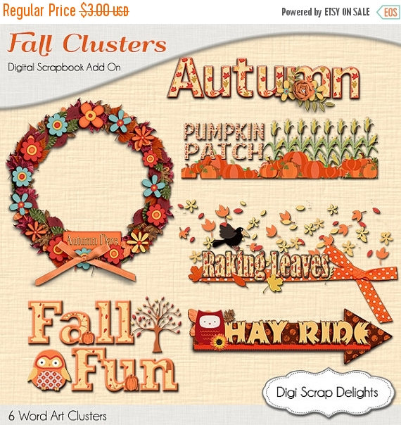 Autumn Cluster Word Art, Fall Wreath, Pumpkin Patch, Raking Leaves.
