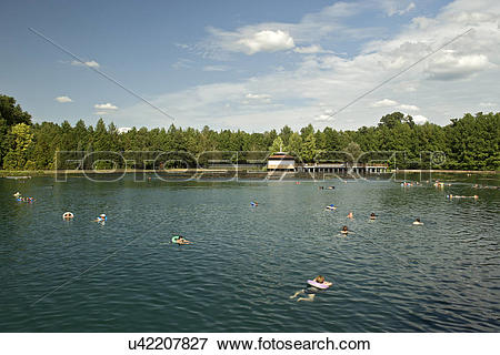 Picture of Hungary, Zala, Heviz. People swimming in the.