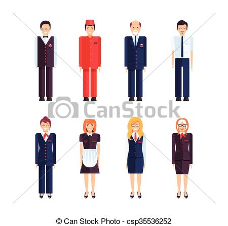 Vecteur Clipart de professionnel, hôtel, personnel.