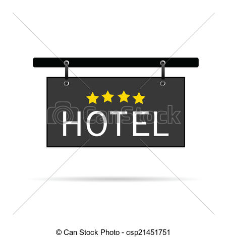 Vecteur Clipart de étoile, hôtel, enseigne, Illustration, quatre.