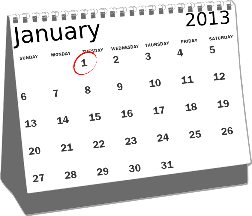 Free vector graphic: Calendar, January, Desk, 2013, 1St.