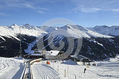 Train Station At Davos , Switzerland Stock Photo.