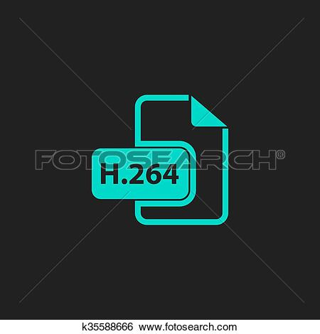 Clip Art of H264 video file extension icon vector. k35588666.