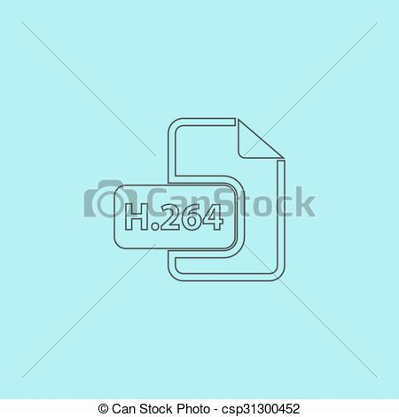 Clipart Vector of H264 video file extension icon vector..