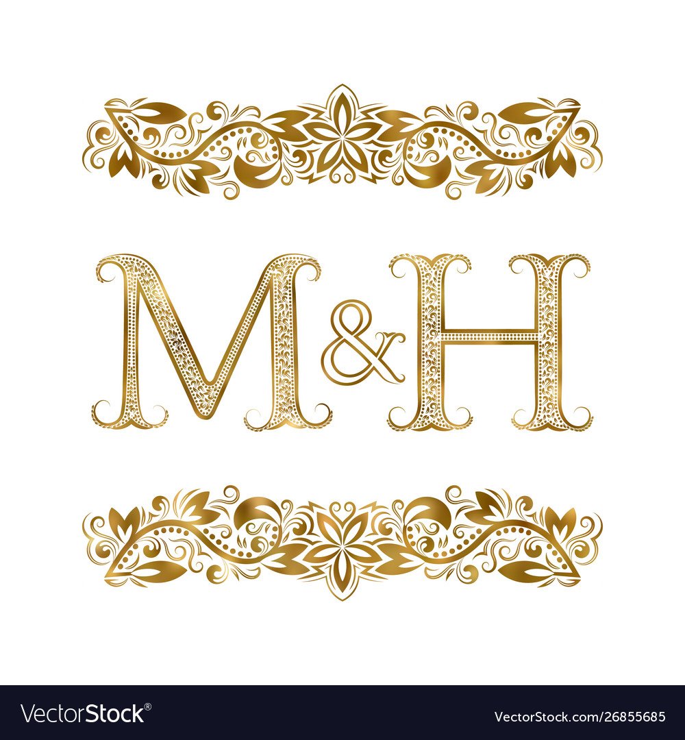 M and h vintage initials logo symbol letters.