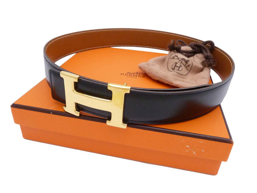 Hermes HERMES belt Constance H logo Constance H vintage Vintage ◆ Black  Brown black black x brown x gold metal fittings leather x metal material ◆.