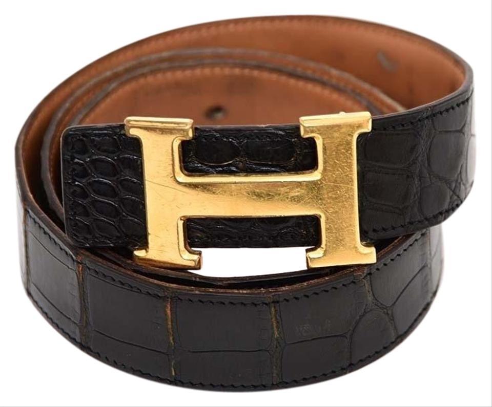 Hermès Black Crocodile Reversible H Logo Kit 232975 Belt 82% off retail.