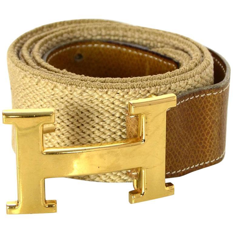 Hermes Stretch Belt With Goldtone H Logo Buckle.