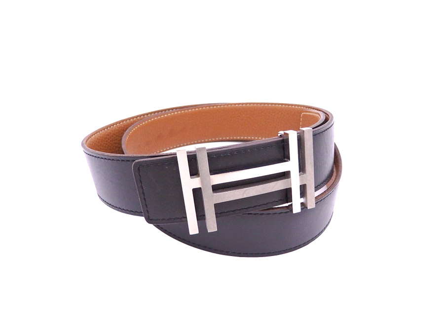 Hermes HERMES belt H logo reversible black x brown x silver metal fittings  leather waist belt buckle men.