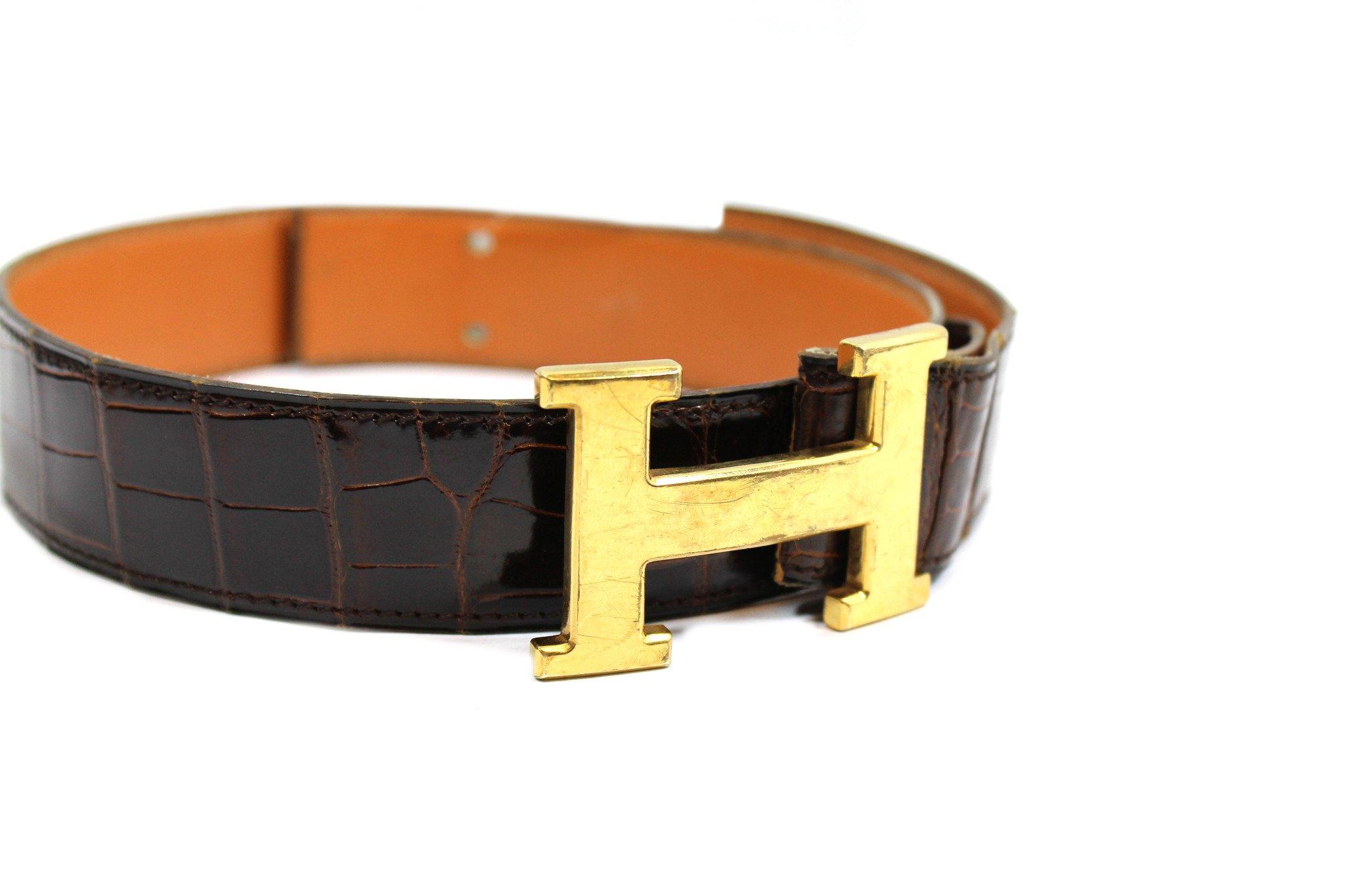 Hermès Vintage Brown Crocodile Belt with Gold Logo Buckle.