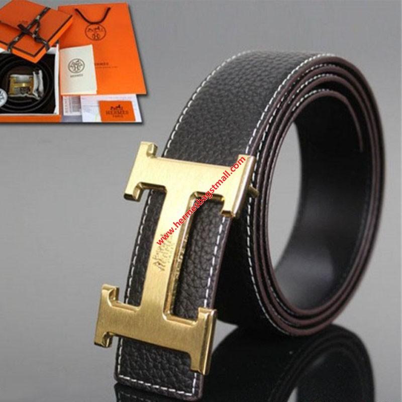 Hermes Constance Logo Belt Leather Gold Hardware In Black.