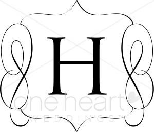 Classic Monogram H Clipart.