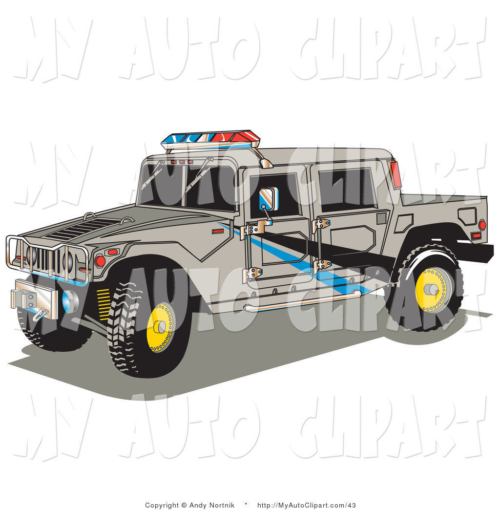 Clip Art of a Large Gray Police Patrol Hummer H2 Vehicle with a.
