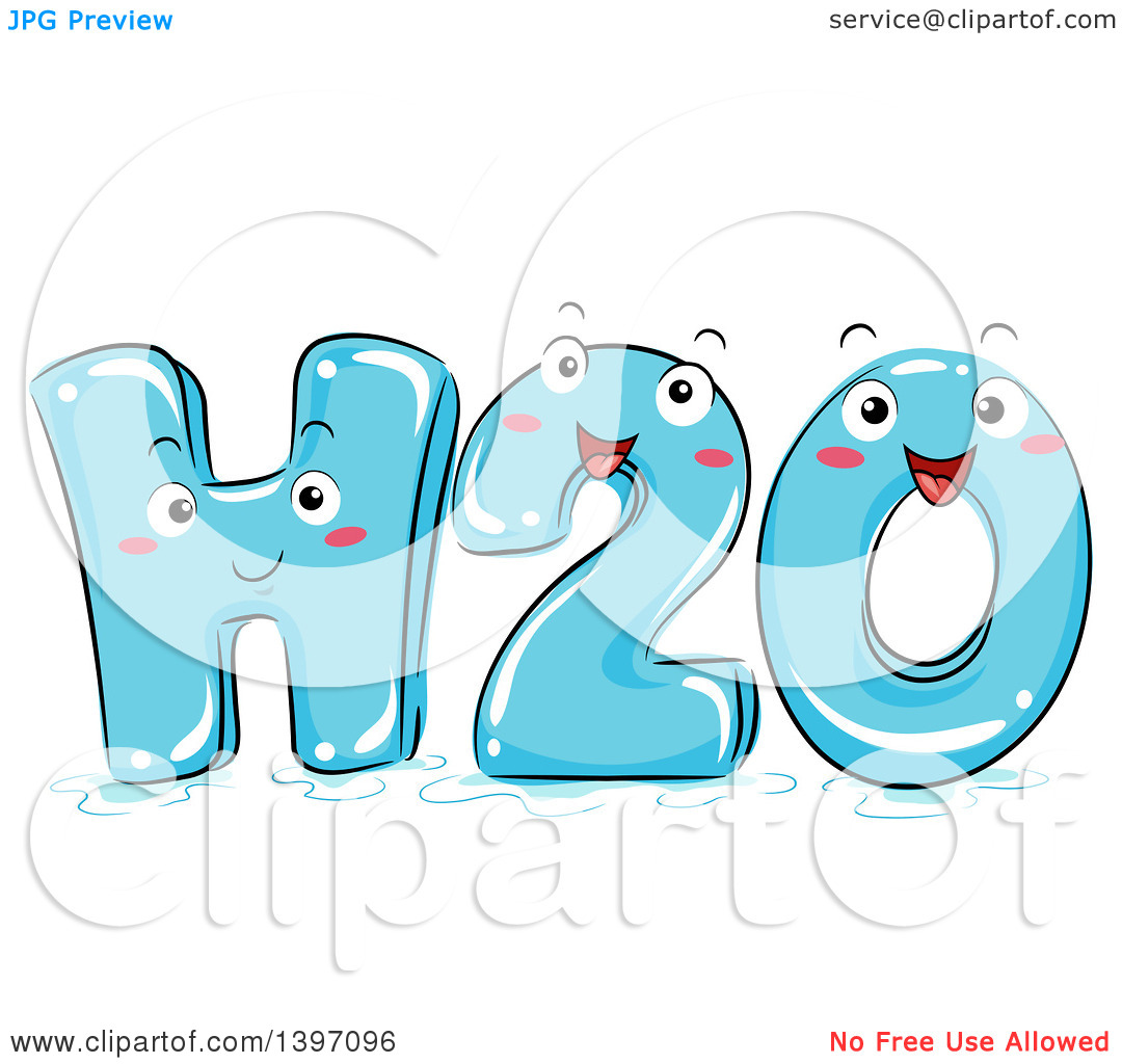 Clipart of a Happy H2o Water Character.
