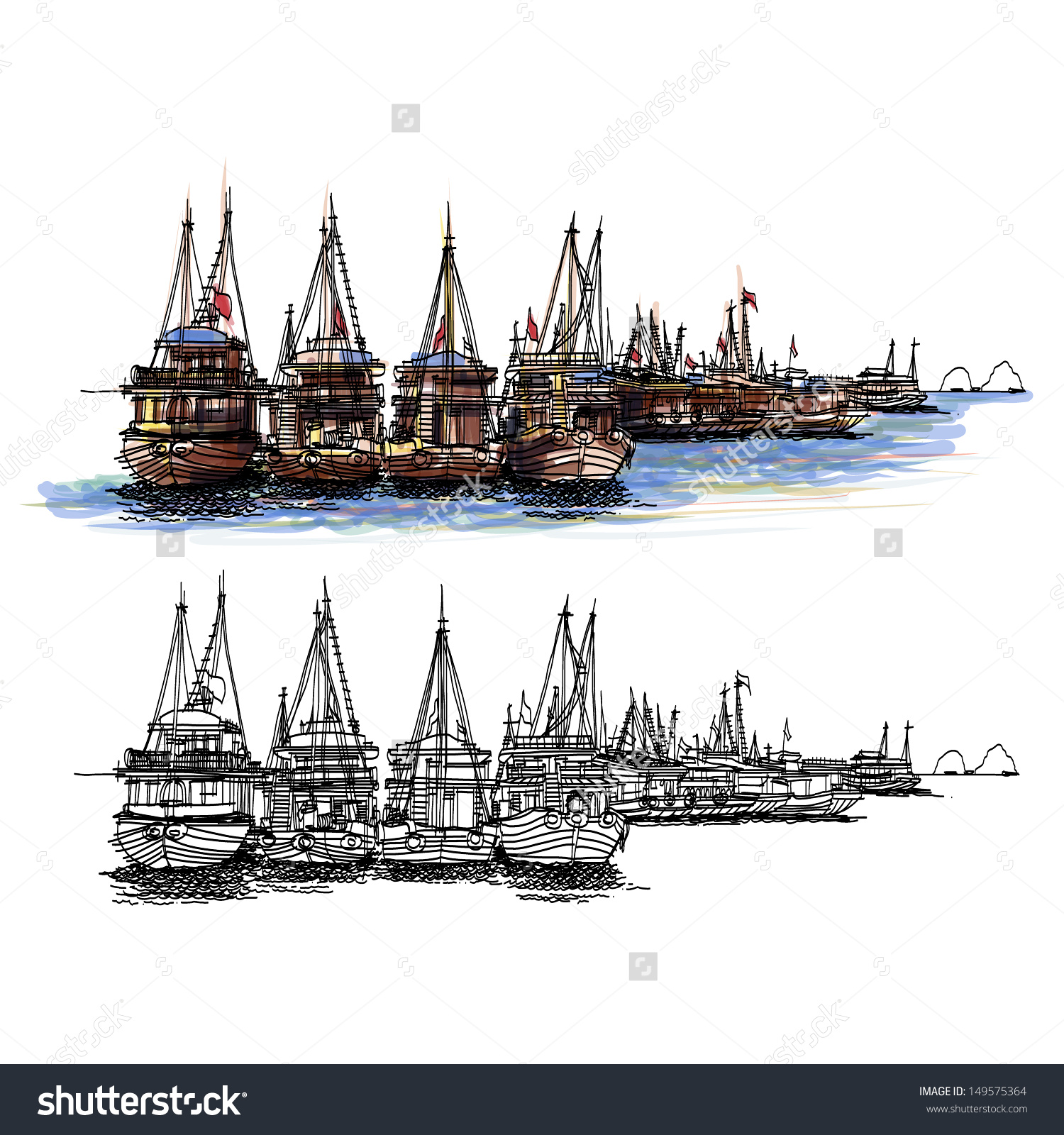 Ha Long Bay Vietnam Sketchbook : Vector Eps.10.