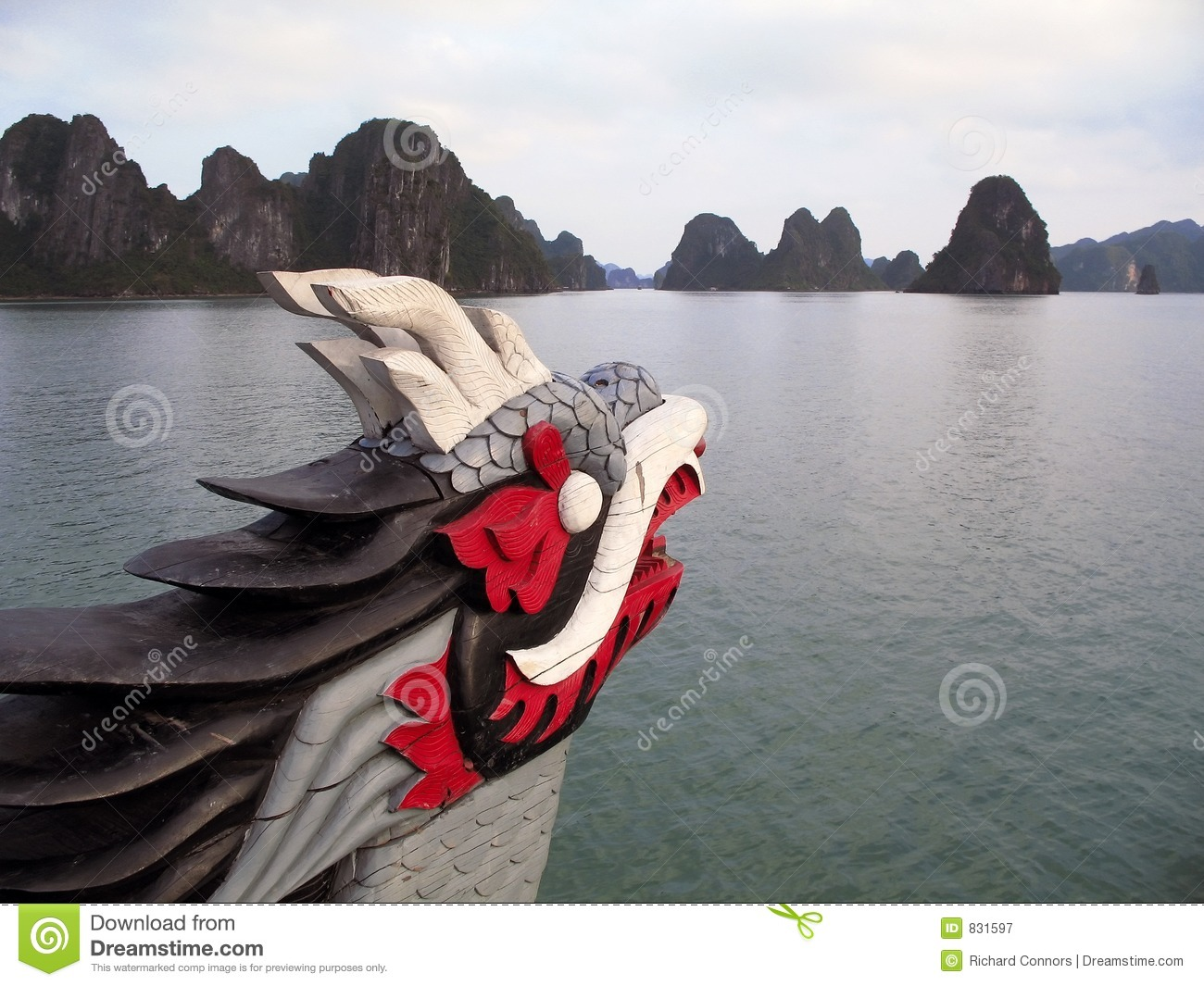 Dragon Figurehead On Halong Bay Royalty Free Stock Photography.