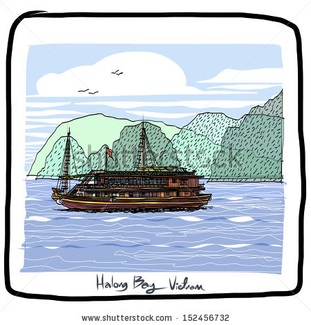 Ha Long Bay Vietnam Sketchbook : Vector Eps.10.