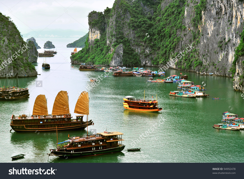 Tourist Junks Floating Village Halong Bay Stock Photo 94992478.
