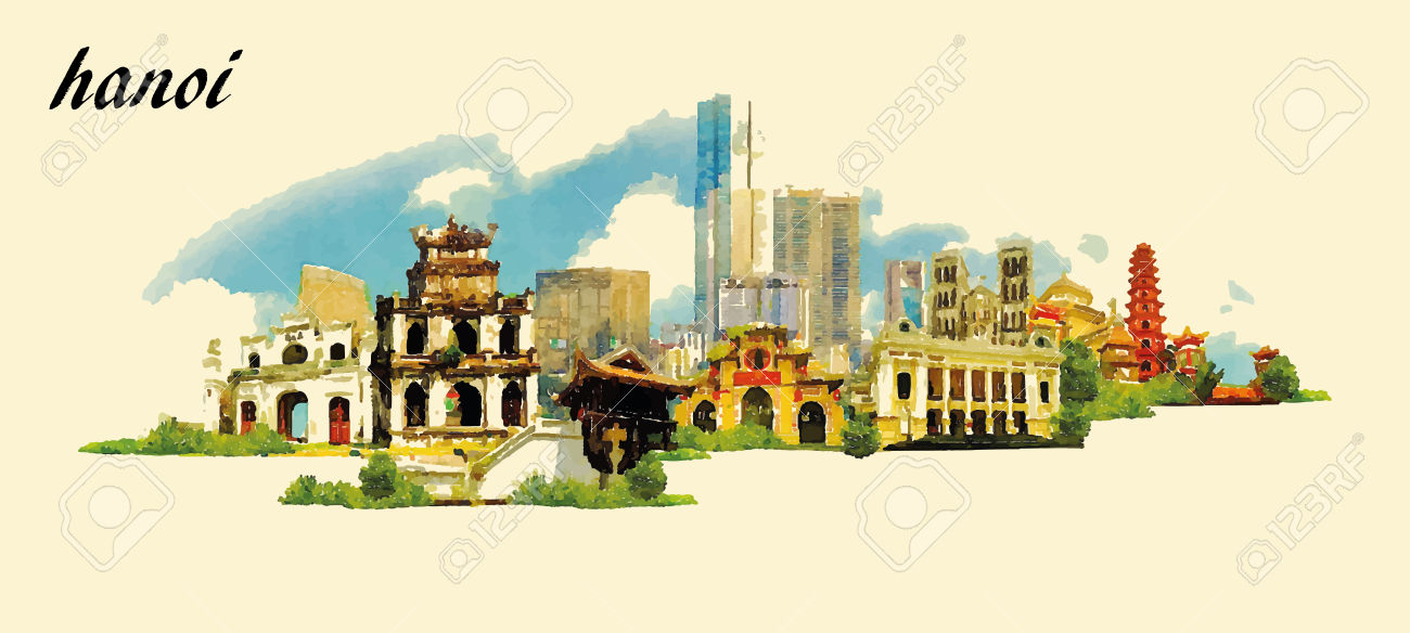 HANOI City Panoramic Vector Water Color Illustration Royalty Free.
