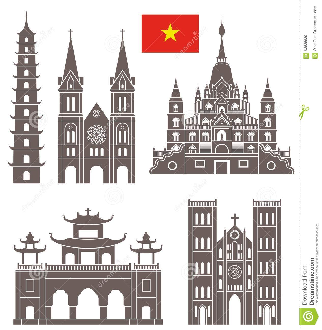 Hanoi. Set Stock Vector.