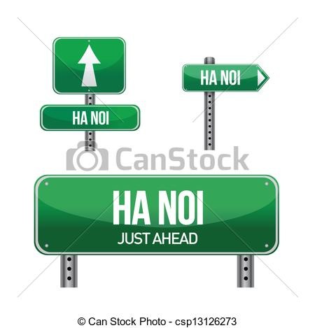 Vectors Illustration of ha noi city road sign illustration design.