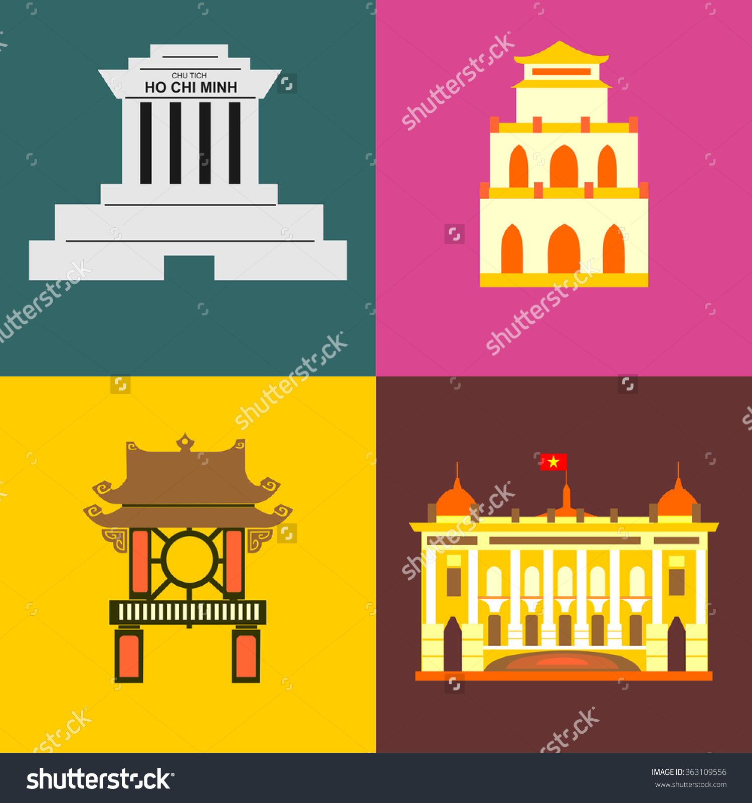 Hanoi City Icons Stock Vector 363109556.