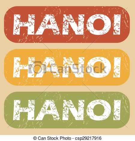 Vector Clip Art of Vintage Hanoi stamp set.