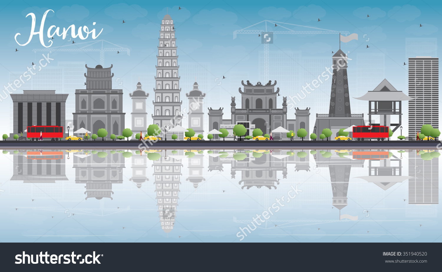 Hanoi Skyline Grey Landmarks Blue Sky Stock Vector 351940520.