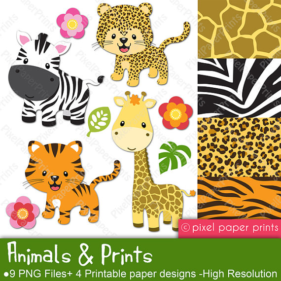 Animals and Prints Clipart and Digital paper door pixelpaperprints.