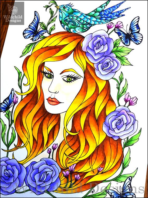 Frühling Färbung Seite Fairy Fantasy von WildchildDesigns77 auf Etsy.