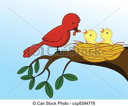 Vector van baby, Het voeden, vogel, haar.