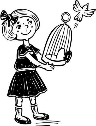 Meisje laat haar vogel vrij vliegen kleurplaat.