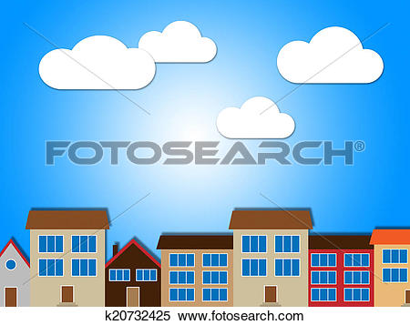 Stock Illustration of City Houses Shows Habitation Building And.