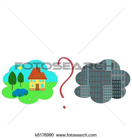 Clipart of Habitation choice, gloomy city or the house in village.