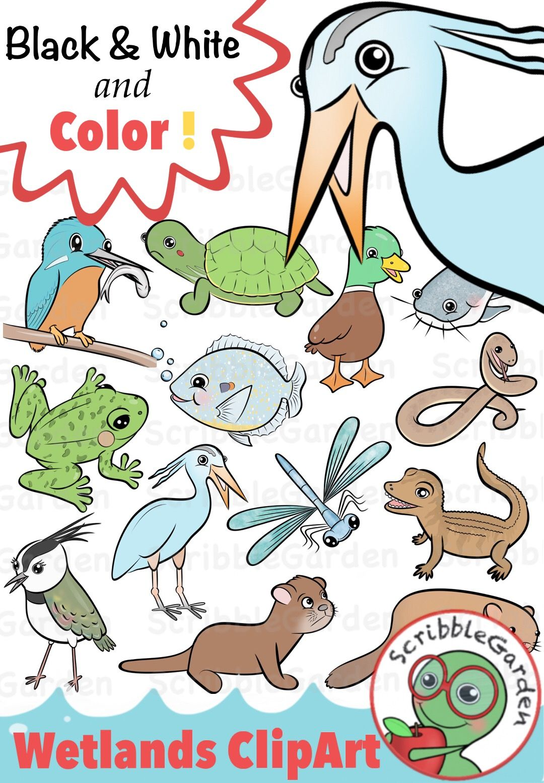 Habitat Animals: Wetlands of the World ClipArt.