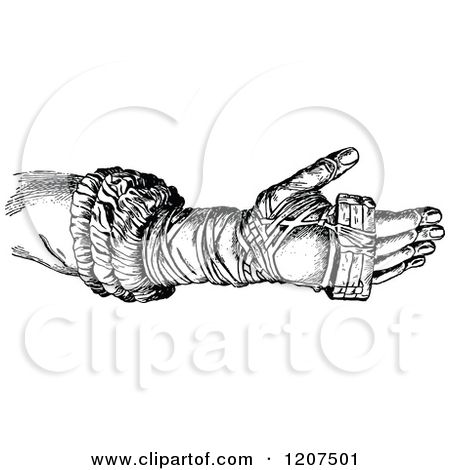 Clipart of a Vintage Black and White Ancient Boxing Glove.